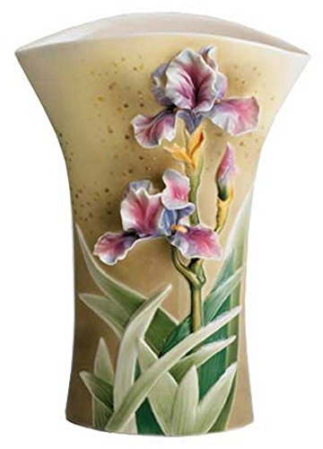 - Retired Franz Sculptured Porcelain Enchanted Garden Iris Grace Design Large Flower Vase
