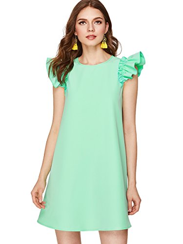 Romwe Women's Ruffle Trim Sleeve Summer Beach A Line Loose Swing Dress Green XS