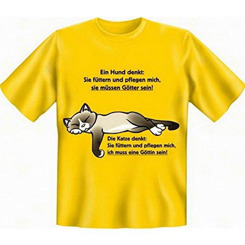 Fun T-shirt Ein Hund denkt ... Die Katze denkt ... Fb gelb