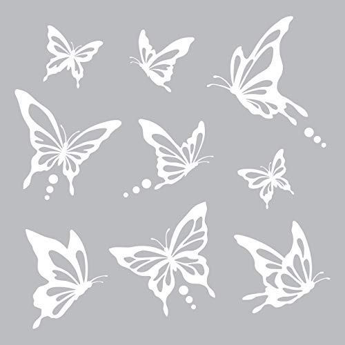 Decowall DWG-601N_W Modern Butterfly Graphic Kids Wall Decals Wall Stickers Peel and Stick Removable Wall Decals for Kids Nursery Bedroom Living Room (White) (Wall Decals White)
