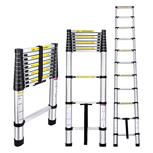 Gimify Telescoping Telescopic Extension Ladder 10.5 FT Aluminum Alloy Extendable Lightweight Ladder Steps Safety for…