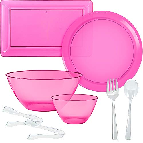 Party City Bright Pink Serveware Supplies, Includes 2 Plastic Platters, 2 Plastic Bowls, 2 Pairs of Tongs, and Utensils