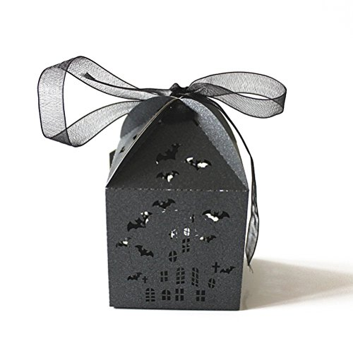 ULTNICE 50pcs Bat Hollowed-out Design Wedding Favors Candy Boxes Halloween Party Gift Favor Treat Candy Paper Boxes -