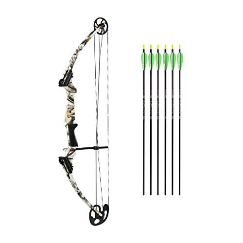 Genesis Original Bow Youth Compound Bow Bundle with Six Arrows | Official Bow of The National Archery in The Schools Program (NASP) | Right Hand, White Winter Camo
