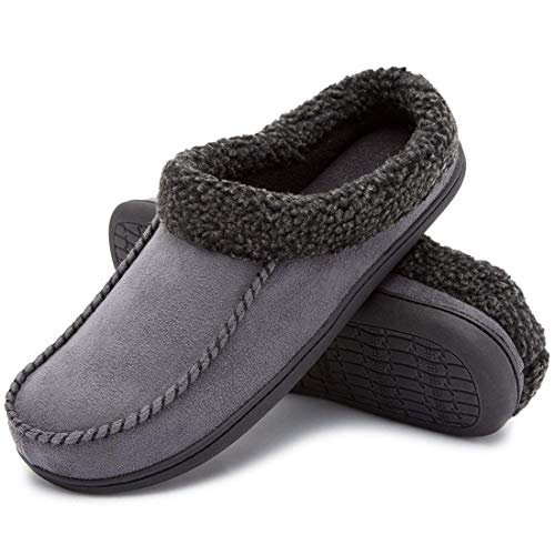 aa3710be273 ULTRAIDEAS Men s Comfort Suede Memory Foam Slippers Non Skid House Shoes  w Faux Shearling Collar