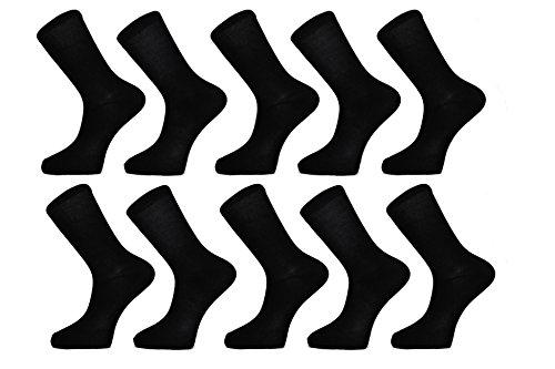 Schwarz Socken (10 Paar) FM® Herrensocken bequem, für den Alltag, Wadenhöhe, atmungsaktiv, elegantes Design, elastischer Saum, einfarbig Socken