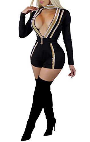 Remelon Womens Choker Long Sleeve Deep V Neck Glitter Sequin Short Romper Jumpsuit Playsuit With Belt Black XL