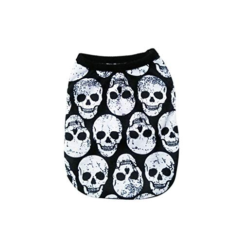 Encounter_meet Cotton Bulldog Skull Print Vest Pet Dog Clothes for Small Dogs Pets Clothing Punk T-Shirt Pug Costume,3,S]()