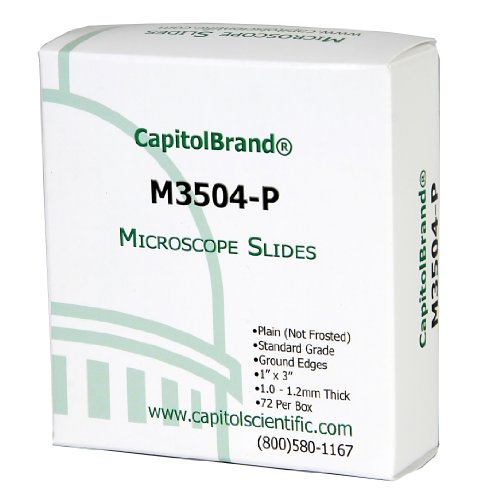 CapitolBrand Glass Microscope Slides, Plain, Standard Grade, Size: 3 x 1-Inch (Box of 72)
