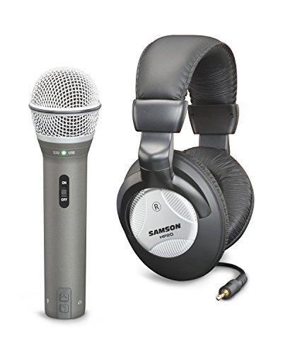 Samson Q2U Handheld Dynamic USB Microphone with Headphones and Accessories