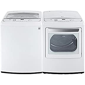 LG High-Efficiency Top Load Washer with TurboWash 4.9 cu. ft., White WT1701CW_DLEY1701W