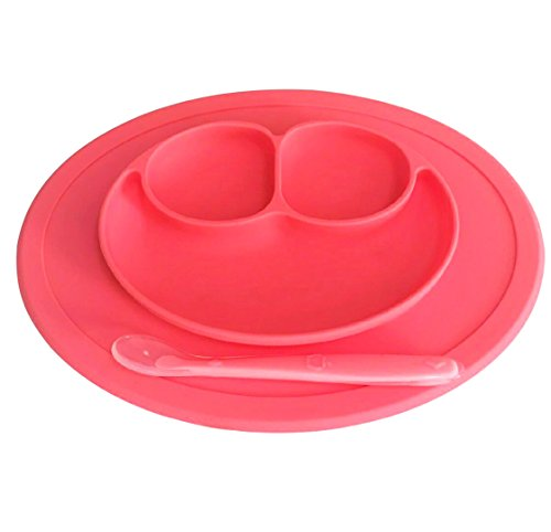 No Spill, Smiley, Placemat Plate for Baby to Toddler. It has 3 Compartments for Food. Strong Suction & Fits any Surface. Made of 100% Safe BPA Free Food-Grade Silicone in pink. By Irissa