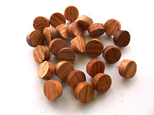 24 Wooden Oak Thumb Tacks Thumbtacks Pushpins 3/4 inches