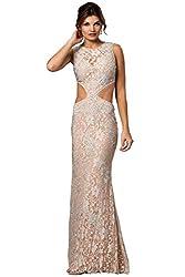 Long Rhinestone Studded Lace Dress
