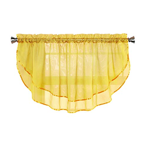 Sheer Voile Valance Curtain for Windows Size 54 in X 24 in Scalloped with Ribbon for Kitchens, Living Room, Dining Room, Bathroom, Bay Windows, Basement, Laundry Room (Yellow) (Curtains Yellow Bathroom)