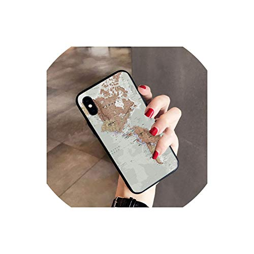 World map Phone Case Cover Shell for iPhone 7 7plus X 8 8plus and 5 5s 6s 6s Plus Mobile Phone Cover,4,for iPhone 7