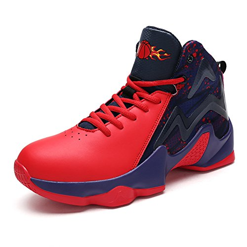 Scurtain Mens Prestanda Mode Sneakers Sport Pu Höga Toppbasketskor Röd