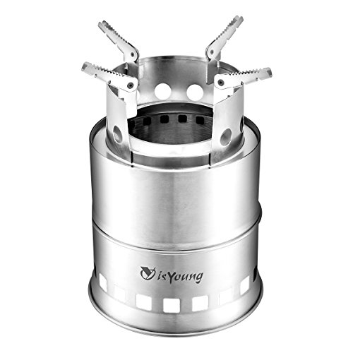 isYoung Stainless Steel Burning Camping Stove with 4 Flexible Non-Slip Arm