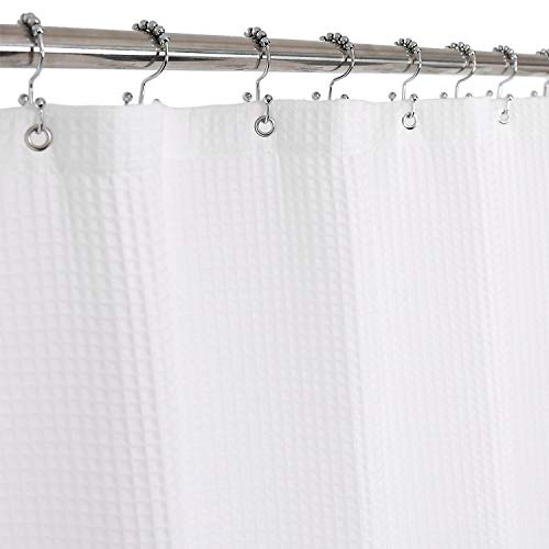 Barossa Design Honeycomb Waffle Weave Shower Curtain Cotton Blend Extra Long 84 inch Height, Hotel Luxury, Heavy Weight, Spa, Washable, White, 72x84 Fabric Shower Curtain for Bathroom