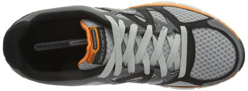 Skechers Hombres Agility Ultimate Victory Lace Up Sneaker Gris / Naranja