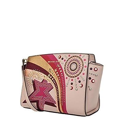MICHAEL Michael Kors Selma Embellished Leather Messenger Bag - Soft Pink