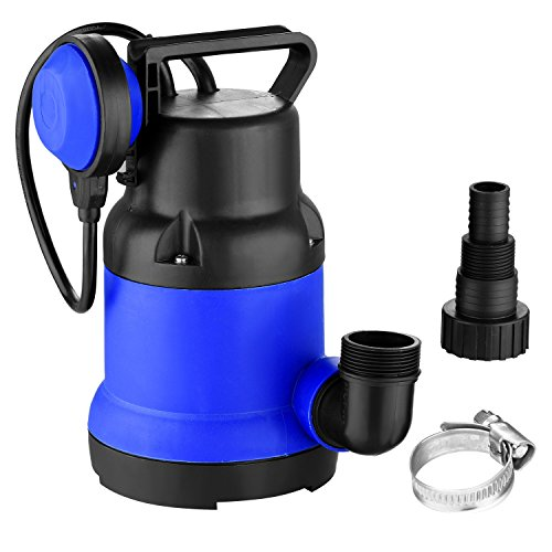 400W Clean Submersible Water Pump, 1/2 HP Thermoplastic Submersible Utility Pump with Float Switch and Water Pipe Buckle for Garden House/ Swimming Pool Pond, US Plug