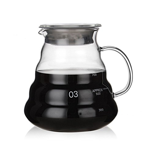 Heat Resistant Glass Hand Drip Coffee Pot Coffee Server Kettle Coffee Maker Teapot (600ml) -
