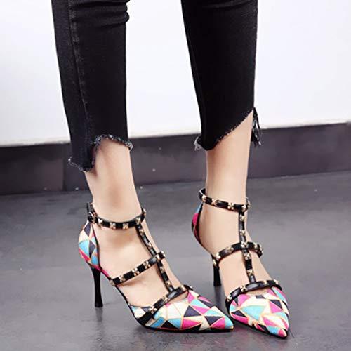 Estilo Europeo Punta Huecas Aguja Color Damas Zapatos YMFIE A Tacones de en Sandalias de de Solo Moda Remache d5qxwBUS