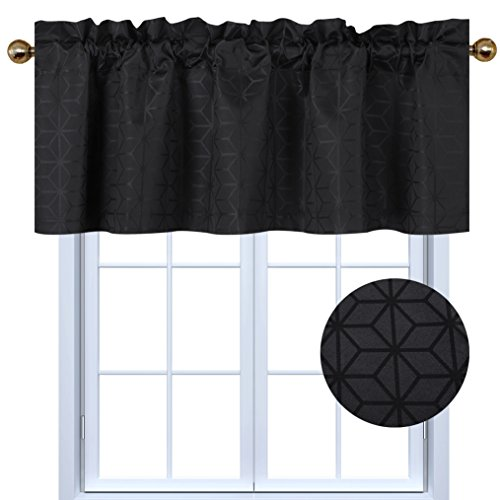 Valea Home Blackout Valance Curtains for Kitchen Window Geometric Room Darkening Rod Poket Valances for Living Room and Basement, 54
