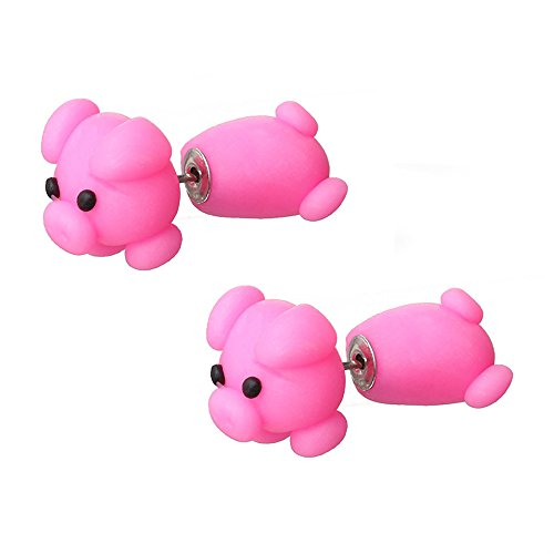 TIDOO Jewelry Handmade Polymer Clay Cute 3D Animal Stud Earrings Set for Kids Made wih Polymer Clay For Women (Hotpink Pig)