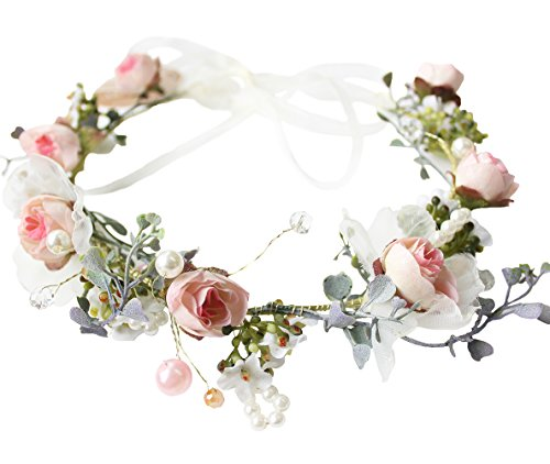 Vivivalue Floral Halo Boho Flower Headband Floral Crown Headpiece Hair Wreath with Ribbon Wedding Party Prom Photos Festival Pink