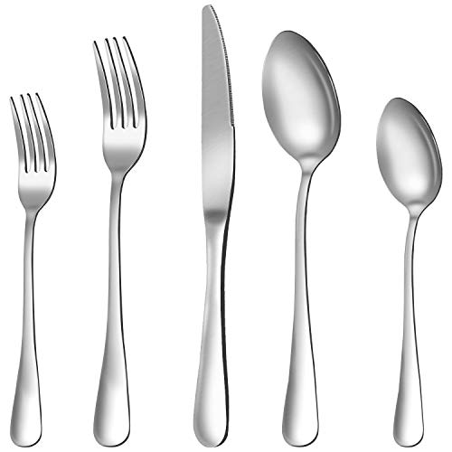 Silverware Set, 20-Pieces Flatware Set Stainless Steel Cutlery Set Service for 4,Include Knife/Fork/Spoon,Mirror…