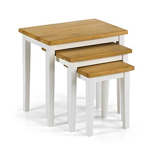 Julian Bowen White Cleo Nest Of Tables, Light Oak