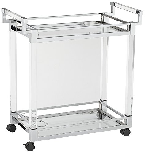 Studio 55D Clear Acrylic and Chrome Rolling Serving Cart Freestanding Serving Cart