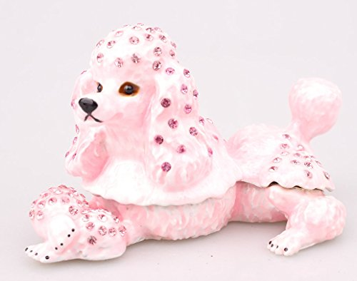 Vintage Pink Poodle Trinket Box with Vintage - Crystal Poodle