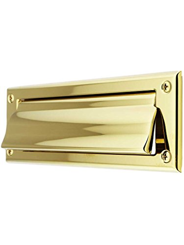 Solid Brass Letter Size Mail Slot Front Plate for Exterior Mounting in PVD Lifetime. ()