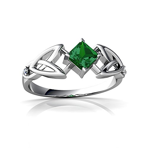 14kt White Gold Lab Emerald and Diamond 4mm Square Celtic Trinity Knot Ring - Size 7 14kt Diamond Trinity Knot Ring