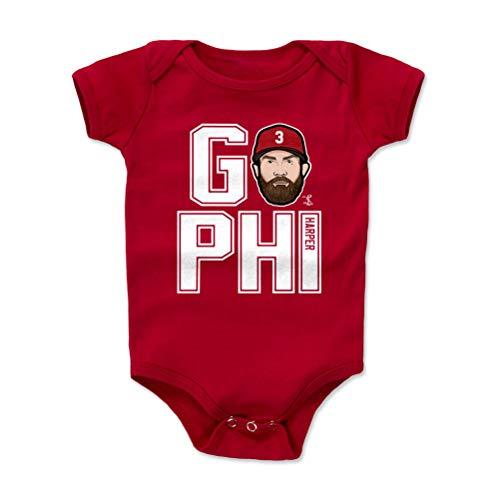 - 500 LEVEL Bryce Harper Philadelphia Baseball Baby Clothes, Onesie, Creeper, Bodysuit (3-6 Months, Red) - Bryce Harper GO PHI W WHT