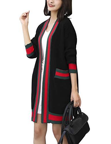 D.B.M Women's Casual Loose Contrast Stripe Long Sleeve Pocket Knit Cardigan (One Size, Black)