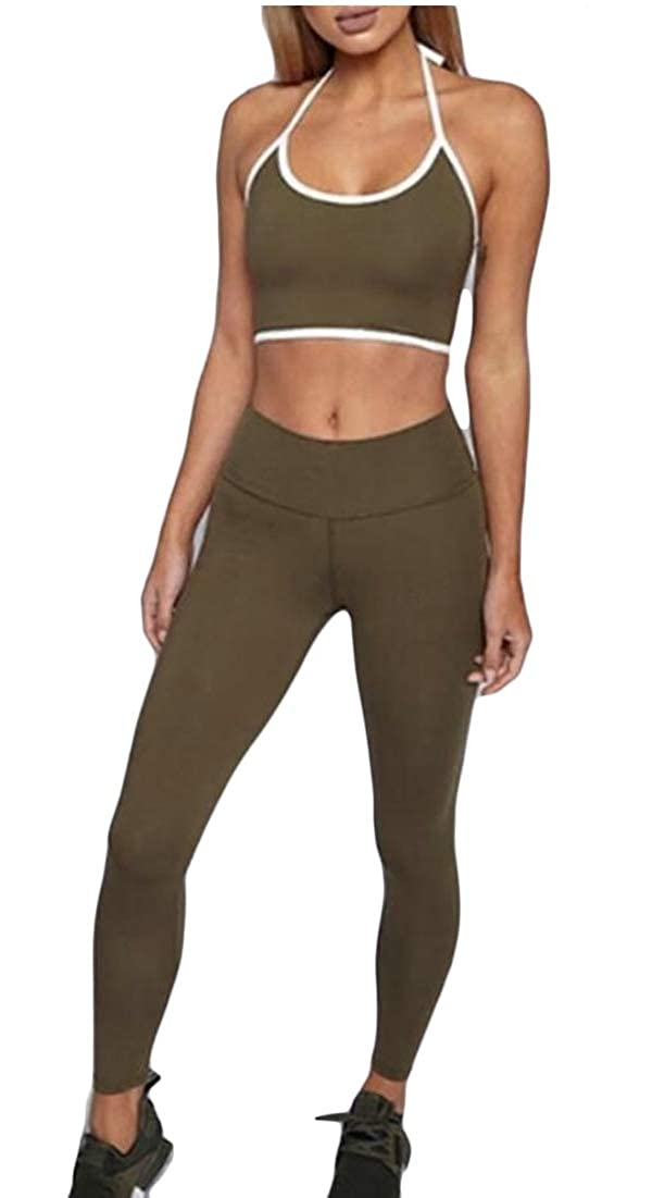 WSPLYSPJY Women 2 Piece Outfits Tank Crop Tops Skinny Long Pants Sets Tracksuits Green XS