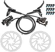 Galapare Hydraulic Bike Disc Brake Kit,160mm Disc Brake Rotor Aluminum Front and Rear Caliper Disc Brake Bike