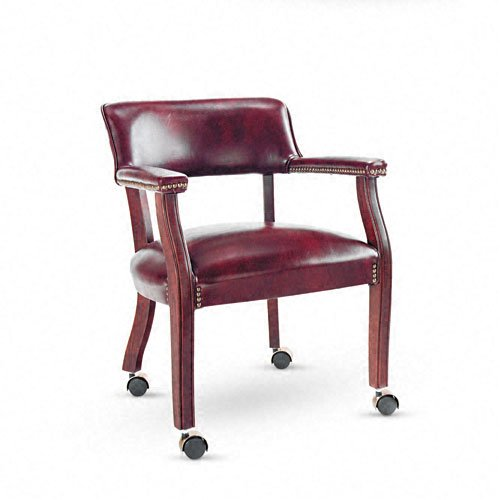 Alera ALETDC4336 Traditional Series Guest Arm Chair w/Casters, Mahogany/Oxblood Vinyl