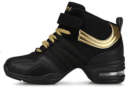 VECJUNIA Women's Ladies Breathable Dance Trainers Shoes High Top Lace-up Athletic Fitness Dance Sneaker Black Gold GOjUmJX4Wb