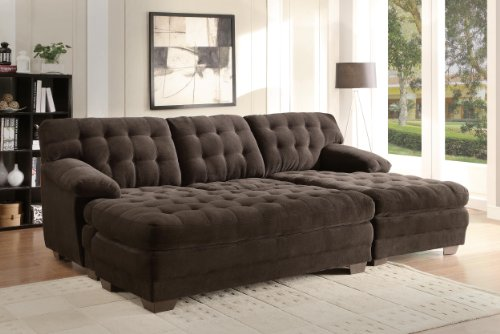 Home Elegance 9739CH Channel-Tufted 2-Piece Textured Plush Microfiber Sectional Sofa Set, Chocolate Brown