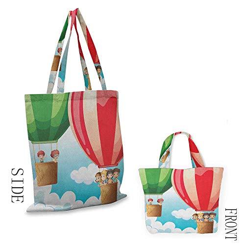 "zippered shopping bag ExploreChildren in Hot Air Balloons Flying Kids Adventure Exploration Themed Illustration Multicolor18""W x 16""H (Family Partridge Bag Shopping)"