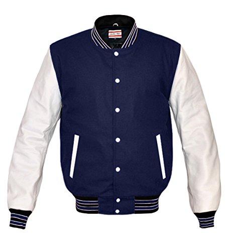 luvsecretlingerie Superb Genuine White Leather Sleeve Letterman College Varsity Kid Wool (Navy Letterman Wool Jacket)