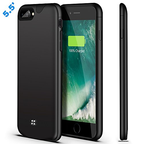 iPhone 8 Plus 7 Plus Battery Case,Fit Lightning Headphones,U-good 4200mAh Ultra Slim Portable Charging Case for iPhone 7/8 Plus(5.5') Battery Charger Case,100% Extra Battery/Lightning Port Input-Black