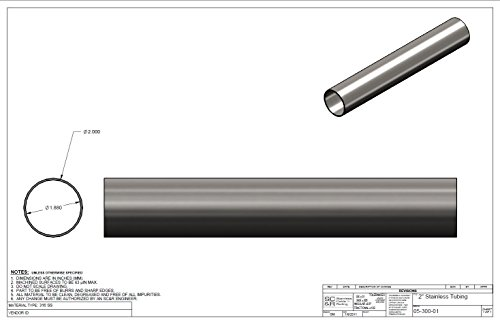 Brushed Finish T 316 Stainless Steel Tube in Various Lengths : 2 Inch OD, 1.88 Inch ID, 1.6 MM Wall (36 Inches) Intermediate Post by CableView Railing (Image #1)