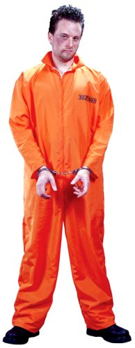 Orange Convict Costume (FunWorld Men's  Got Busted Penitentiary Costume, Orange, One Size)
