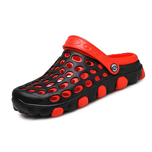 Shoes Walking Beach Clogs Outdoor Garden Shower Slip SEVENWELL Men's Summer Sandals on Massage Red qtvf77